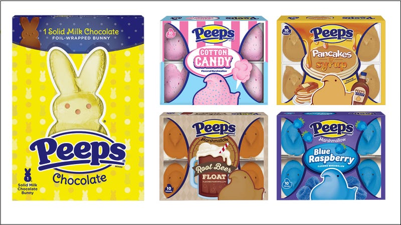 Illustration for article titled Peeps debuts root beer, pancakes and syrup, blue raspberry-filled marshmallow chicks