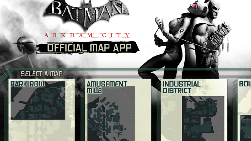 Illustration for article titled Arkham City's Official Map App Gives Aid to Trophy Hunters