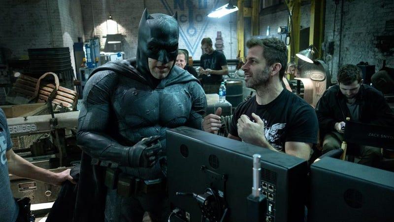 Ben Affleck and Zach Snyder on the set of Batman v Superman.