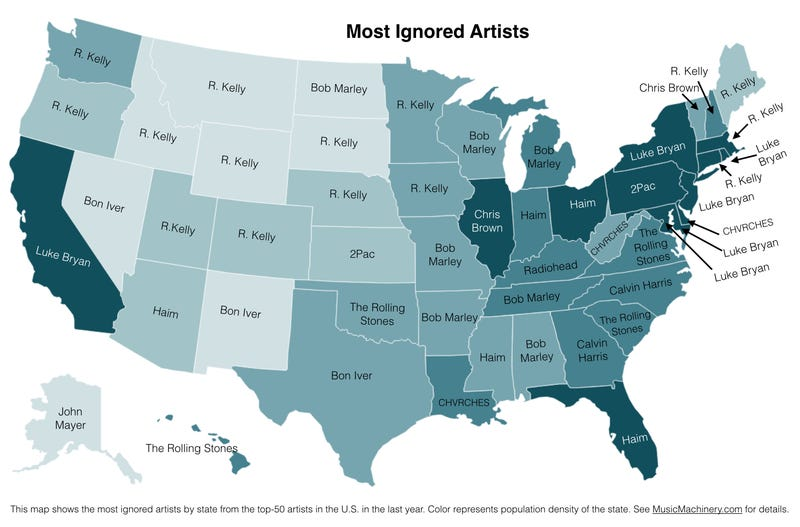 Illustration for article titled A Map Of Each State's Most-Ignored Musical Artist