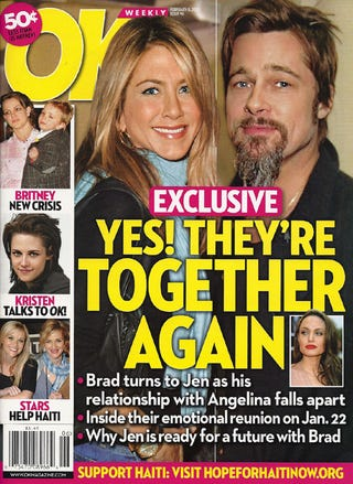 "Illustration for article titled This Week In Tabloids: Brad & Angie Sorta But Not Really Over; Depressed Britney Looks Like A ""Bum"""