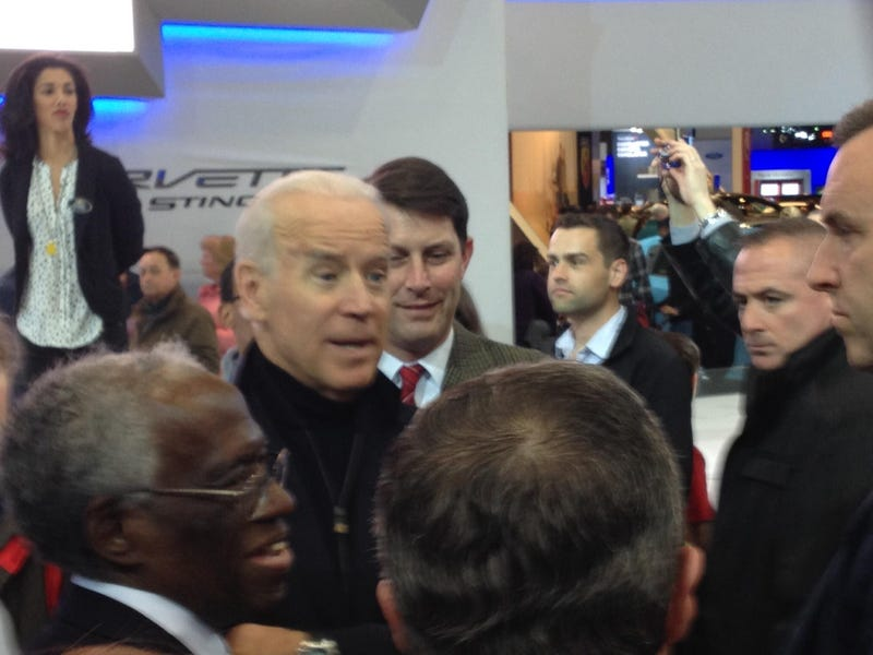 Illustration for article titled I snapped a few pics of Biden at the DC auto show Corvette stand