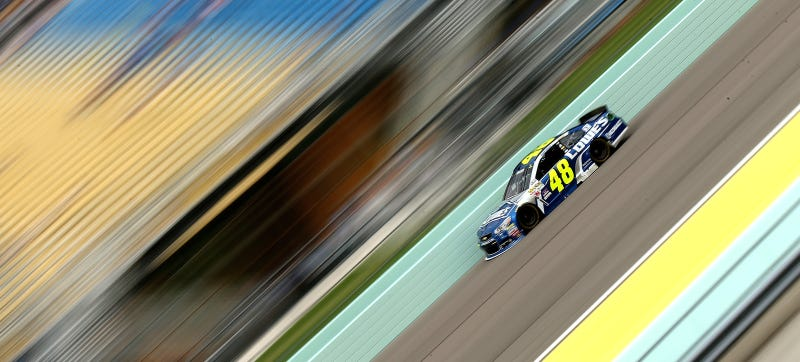 Illustration for article titled NASCAR's Jimmie Johnson Penalized After Crew Member Hip Checks In A Big Fender Dent