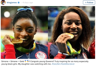 LeBron James' Instagram post praising Olympic gold medal winners gymnast Simone Biles and swimmer Simone ManuelLeBron James via Instagram