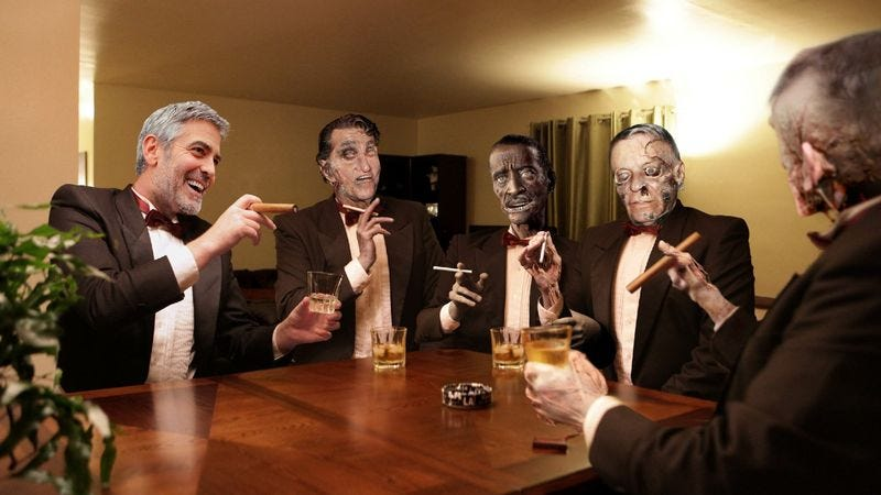 Illustration for article titled George Clooney Enjoys Another Rousing Evening At Home With Mummified Members Of Rat Pack