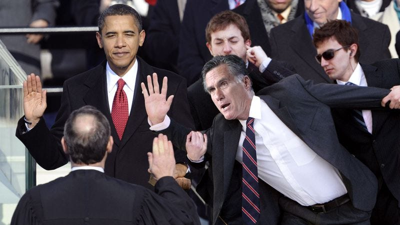 Illustration for article titled Romney Makes Desperate, Last-Ditch Bid For Presidency