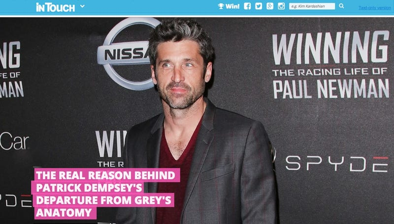 Illustration for article titled InTouch Deletes Article About Patrick Dempsey's Alleged Intern Affair