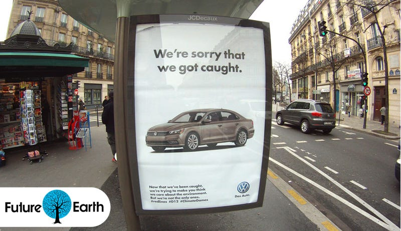 Illustration for article titled Paris Is Covered In Fake Ads That Mock the Climate Talks' Corporate Sponsors