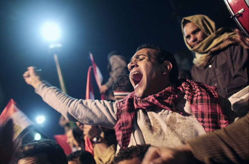 Earlier today, an Egyptian protester eagerly awaited Mubarak's address. (Getty Images)