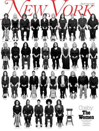 Thirty-five Bill Cosby accusers appear on the cover of New York magazine.New York magazine