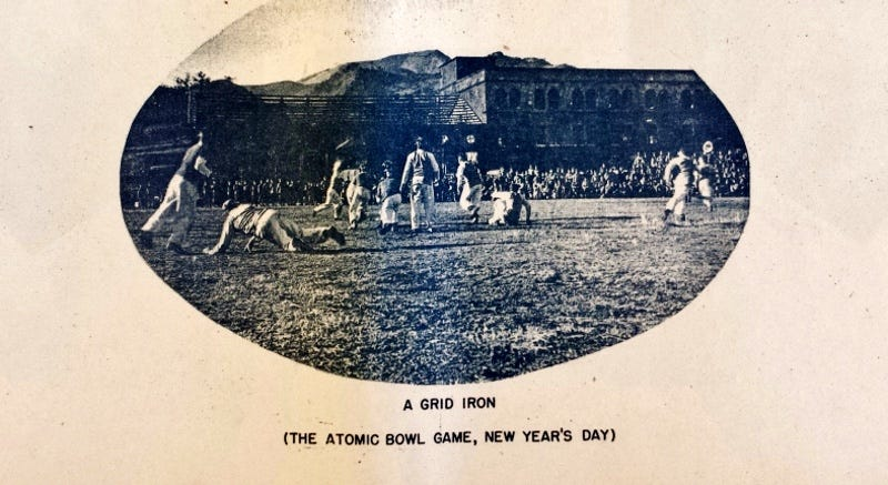 Photo of the Atom Bowl on January 1, 1946 in Nagasaki Japan as found in the book Pictorial Arrowhead Occupation of Japan by Second Marine Division (Scan courtesy of the Tokyo Files Archives)