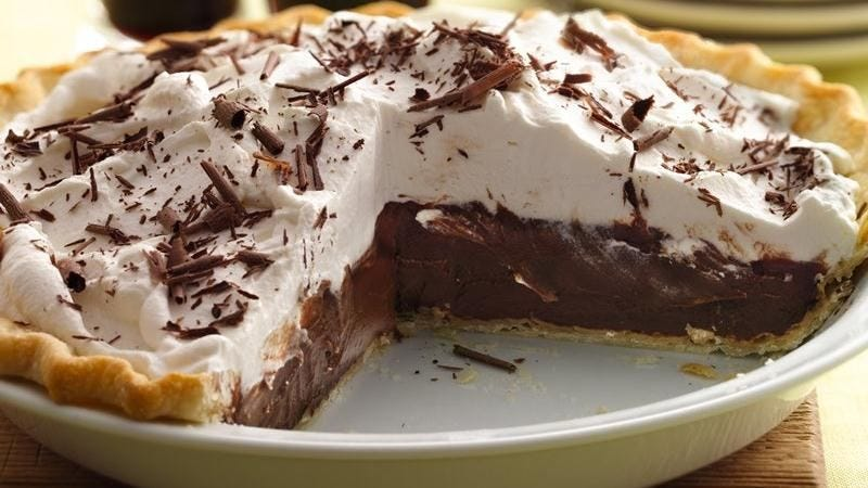My mom makes a tasty chocolate cream pie, much like the one pictured here