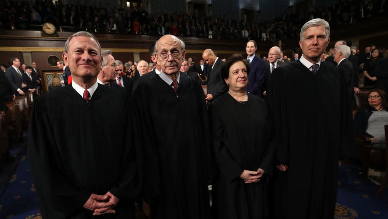 U.S. Supreme Court Chief Justice John G. Roberts, U.S. Supreme Court Associate Justice Stephen G. Breyer, U.S. Supreme Court Associate Justice Elena Kagan, U.S. Supreme Court Associate Justice Neil M. Gorsuch during the State of the Union address.