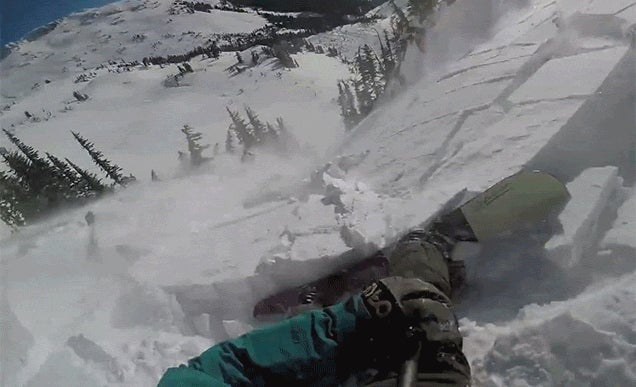 Man rides avalanche on inflatable backpack
