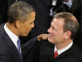 Barack Obama with John Roberts(McClatchy-Tribune)