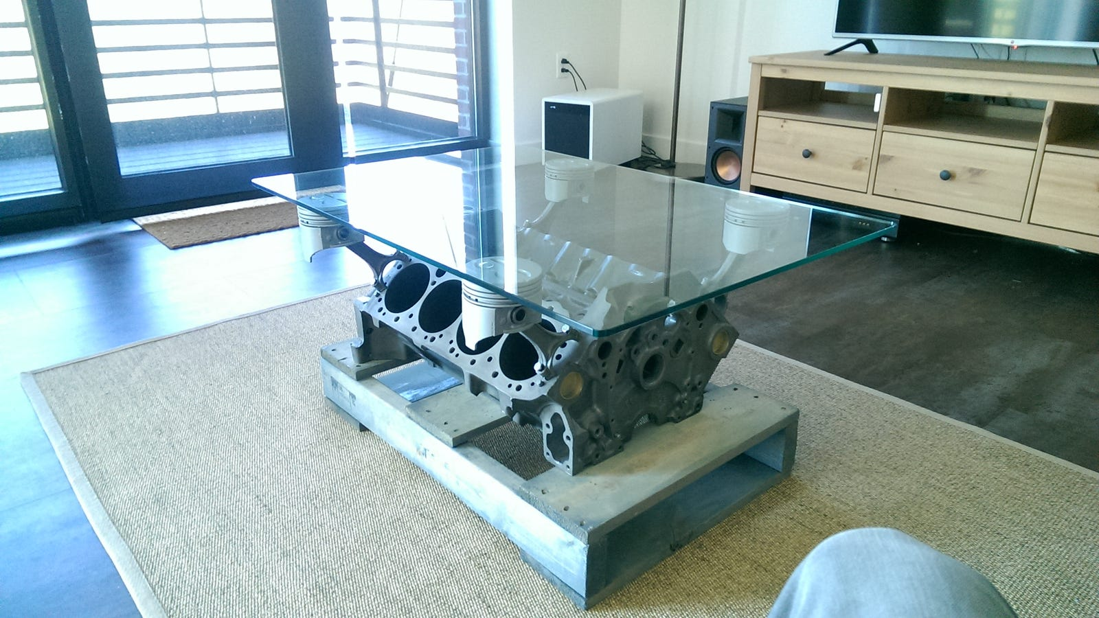 making the engine block coffee table