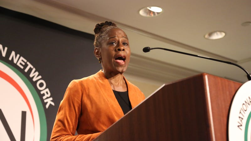 New York City first lady Chirlane McCray speaks at the National Action Network conference in New York City on April 18, 2018.
