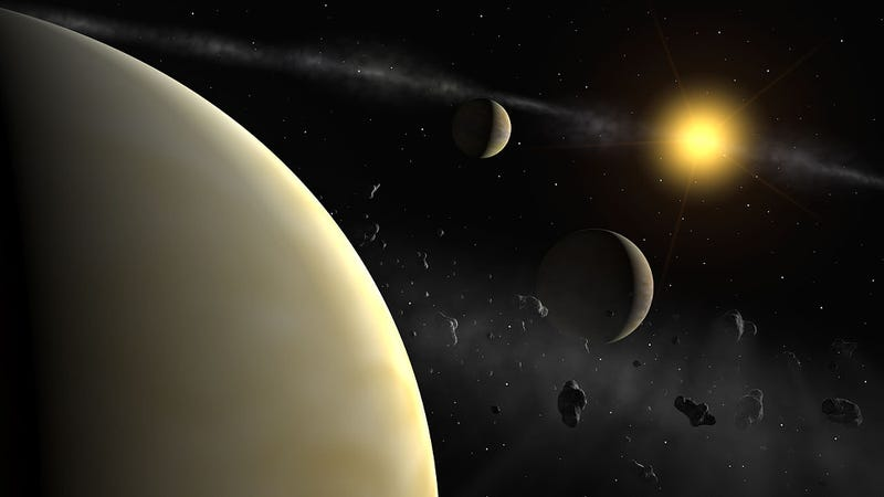 The Kepler-223 system looks similar to the HD 69830 system (pictured here), but with a fourth mini-Neptune, and likely no inner asteroid belt (Image: ESO)