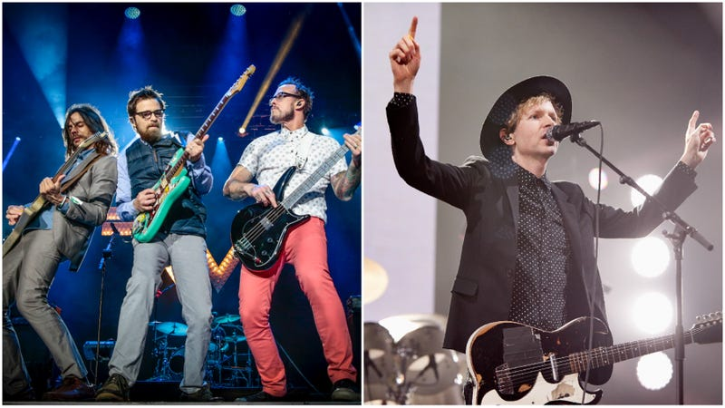 Weezer (Photo: Mark Horton/WireImage/Getty Images) and Beck (Photo: Phil Bourne/Redferns/Getty Images).