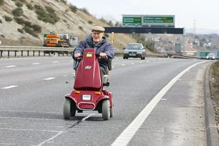 Illustration for article titled Brit Pensioner Hits Freeway On Mobility Scooter