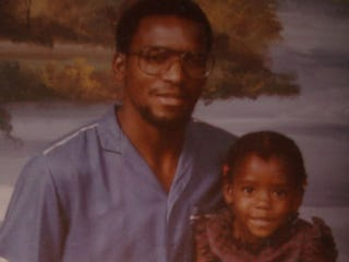Writer Patrice J. Williams with her father in 1986