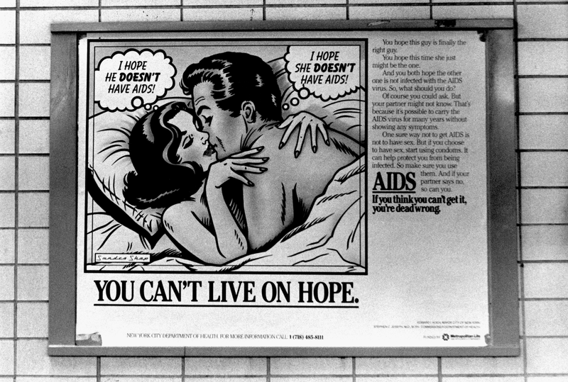 A New York City subway poster promoting AIDS awareness in 1987