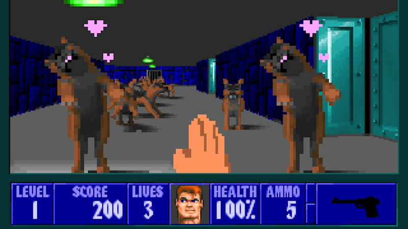 Illustration for article titled These Cute, Pixelated Puppers Will Devour You in This Wolfenstein 3D Mod