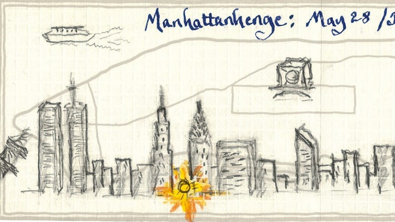 Illustration for article titled Check out Neil deGrasse Tyson's hand-drawn map of Manhattan(henge)