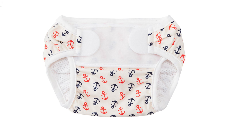 This adorable swim diaper comes from Swim Outlet. I also have one just like it that I made myself. Mine has raccoons.