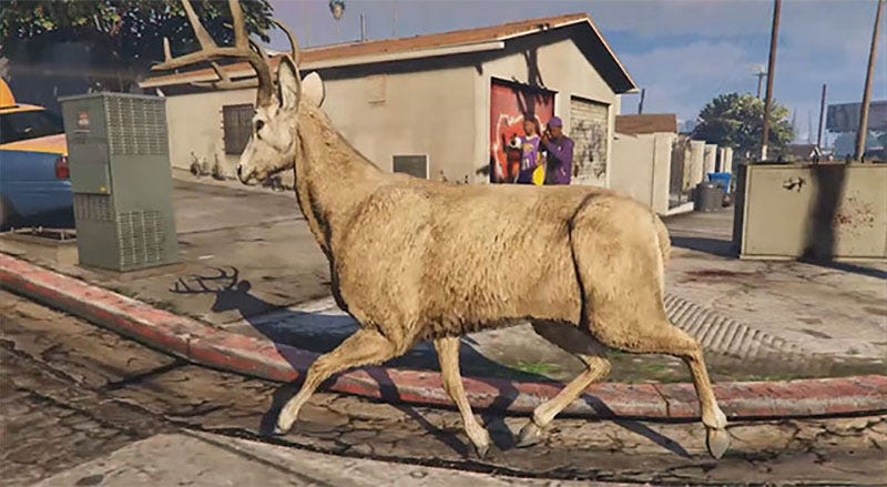 Illustration for article titled Modded Deer Is Running Buck Wild In GTA V