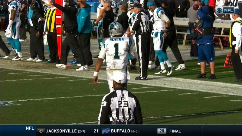"""Illustration for article titled Derek Anderson Flagged On The Bench For """"Disrespectfully Addressing An Official"""""""