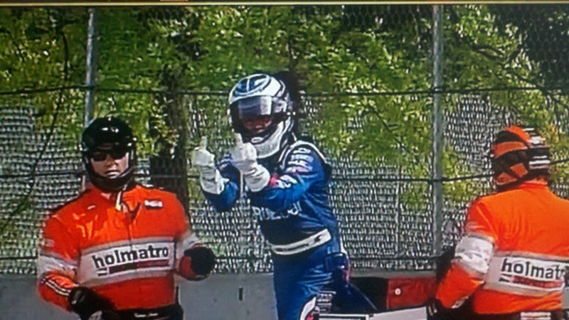 Illustration for article titled The IndyCar Two-Fingered Salute Is Fast Becoming A Thing