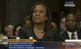 DeKalb County, Ga., Judge Eleanor Louise Ross testifies in front of the U.S. Senate Judiciary Committee. President Barack Obama nominated Ross to the U.S. District Court for the Northern District of Georgia in December 2013.C-SPAN screenshot