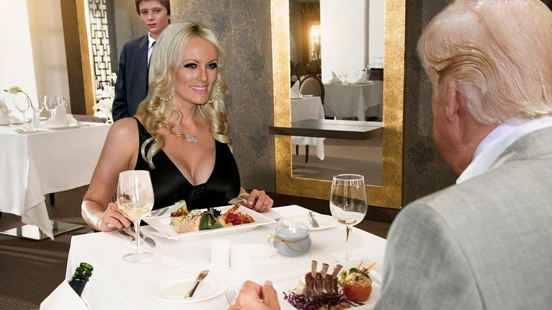 Stormy Daniels and Donald Trump eating dinner together.