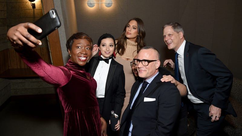 Journalist Joy-Ann Reid, journalist Noor Tagouri, model Ashley Graham, Dior Beauty Brand Ambassador Daniel Martin, WME Executive Vice President of Global Marketing Seth Matlins and CVS Health Chief Marketing Officer Norman de Greve attend the Changing Face of Beauty Panel Discussion at Spring Place at Spring Place on Feb. 8, 2018, in New York City. (Bryan Bedder/Getty Images for IMG)
