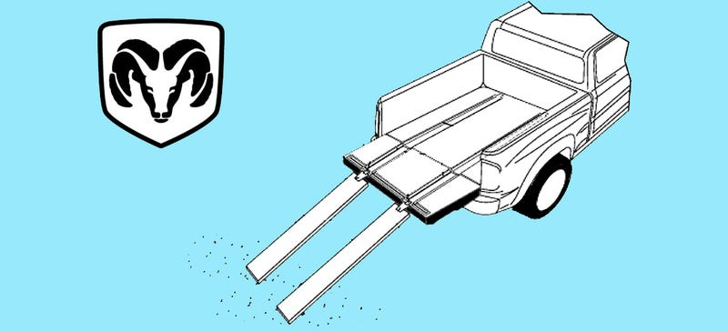 Illustration for article titled Ram Is Working On Retractable Ramps For Their Pickup Truck Beds