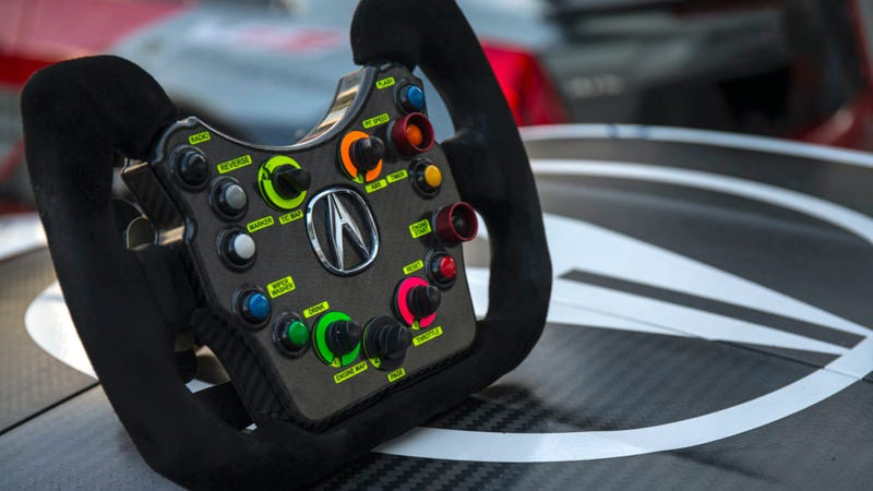 Acura NSX GT3 steering wheel, because race car. Photo credit: RealTime Racing