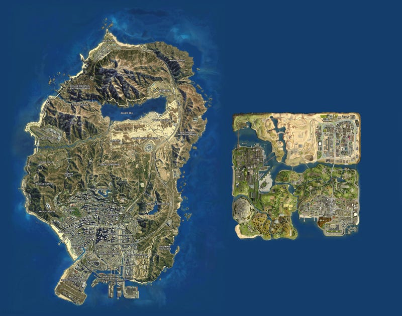 El mapa de San Andreas en GTA V vs el San Andreas de 2004
