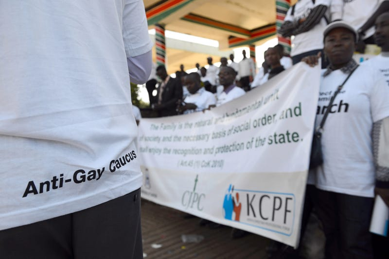 Demonstrators, some of them members of a Christian lobby group, protest against homosexuality in Nairobi, Kenya, on July 6, 2015.SIMON MAINA/AFP/Getty Images