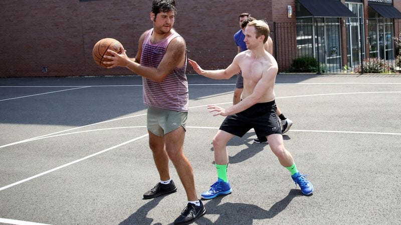 Illustration for article titled Report: Pickup Basketball Player Too Sweaty To Guard