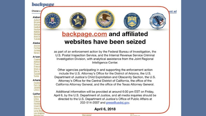 Illustration for article titled DHS, DOJ Now Looking Into Escort and Massage Sites That Boomed After Backpage Takedown
