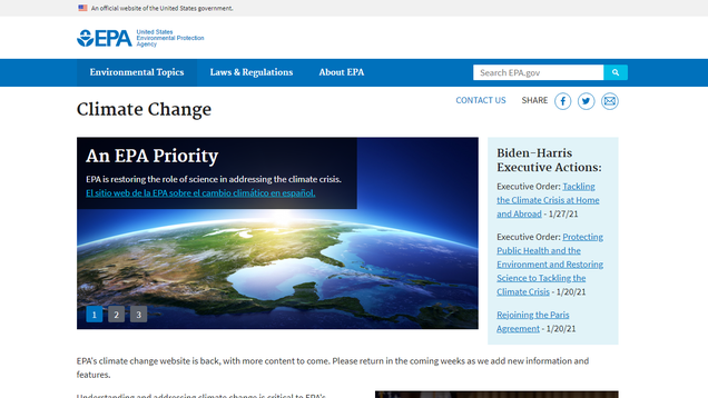 EPA s Climate Change Sub-Site Is Back, Baby