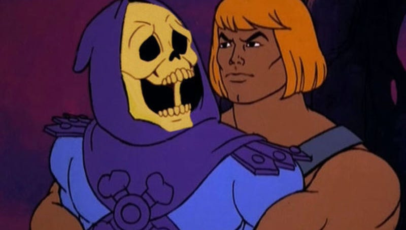 He-Man hugs Skeletor.