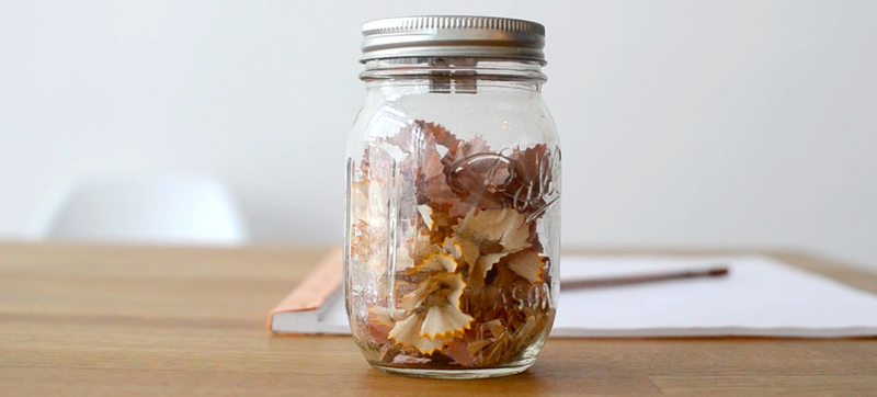 Illustration for article titled A Pencil Sharpening Jar That Tracks Your Work Ethic In Wood Shavings