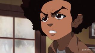 Huey Freeman in a scene from season 4 of The Boondocks