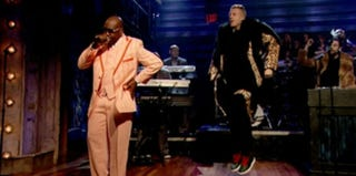 Ryan Lewis and Macklemore perform on Late Night With Jimmy Fallon (NBC)