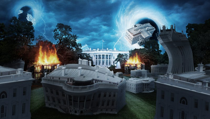 Illustration for article titled Dozens Of White Houses Materialize From Temporal Vortex As Trump's Changing Account Of Putin Meeting Tears Apart Space-Time