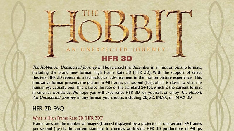 Illustration for article titled The Hobbit Comes With an FAQ Explaining Why It'll Look So Weird