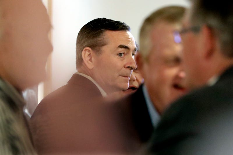 House Speaker Glen Casada, R-Franklin, center, talks with people before a meeting of the House Republican Caucus at a hotel Monday, May 20, 2019, in Nashville, Tenn