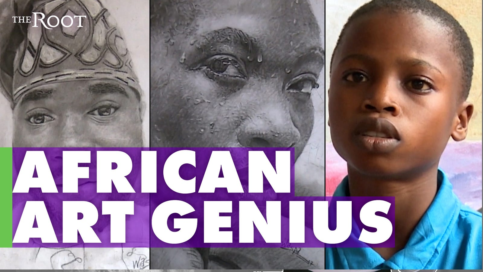11-Year-Old Nigerian Artist Creates Stunning Portraits of Figures in